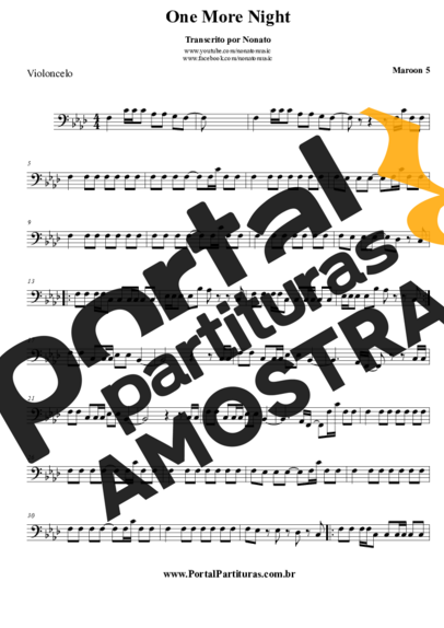 Maroon 5 One More Night partitura para Violoncelo
