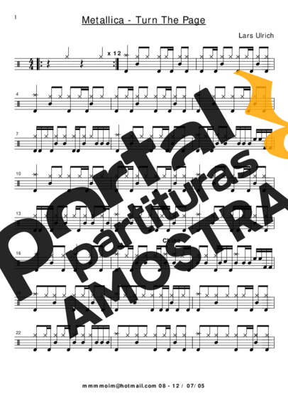 Metallica Turn the Page partitura para Bateria