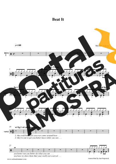 Michael Jackson Beat It partitura para Bateria