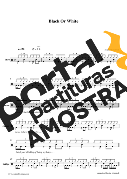Michael Jackson Black Or White partitura para Bateria