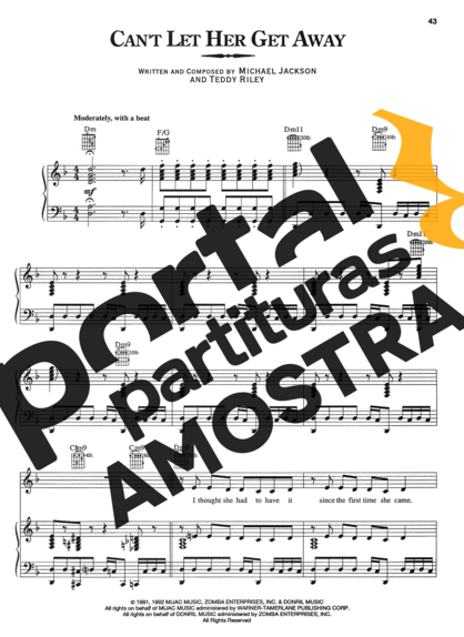 Michael Jackson Cant Let Her Get Away partitura para Piano