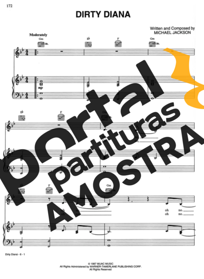 Michael Jackson Dirty Diana partitura para Piano