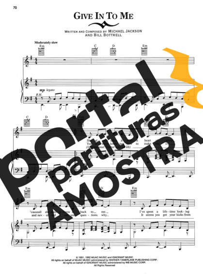 Michael Jackson Give In To Me partitura para Piano
