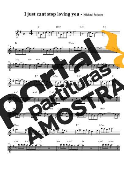 Michael Jackson I Just Can´t Stop Loving You partitura para Saxofone Tenor Soprano Clarinete (Bb)