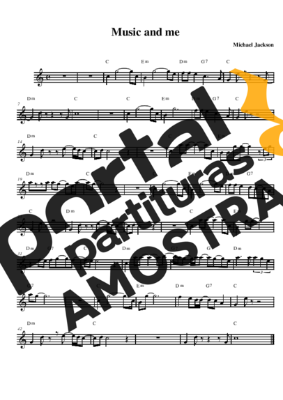 Michael Jackson Music and Me partitura para Saxofone Alto (Eb)
