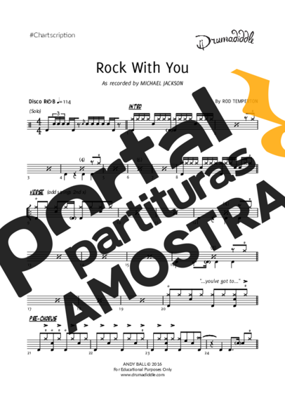 Michael Jackson Rock With You partitura para Bateria