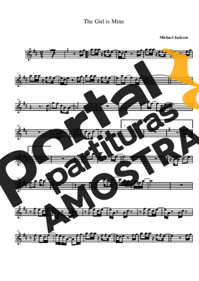 Michael Jackson The Girl Is Mine partitura para Saxofone Alto (Eb)