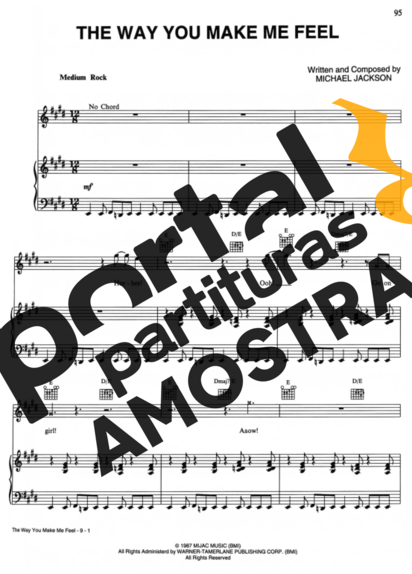 Michael Jackson The Way You Make Me Feel partitura para Piano