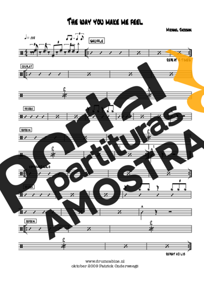 Michael Jackson The Way You Make Me Feel partitura para Bateria