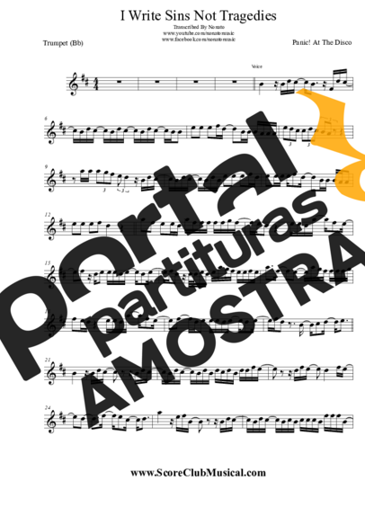 Panic! At The Disco I Write Sins Not Tragedies partitura para Trompete