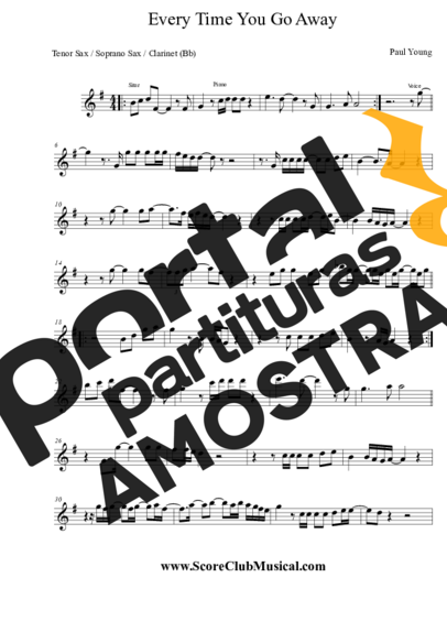 Paul Young Every Time You Go Away partitura para Saxofone Tenor Soprano Clarinete (Bb)