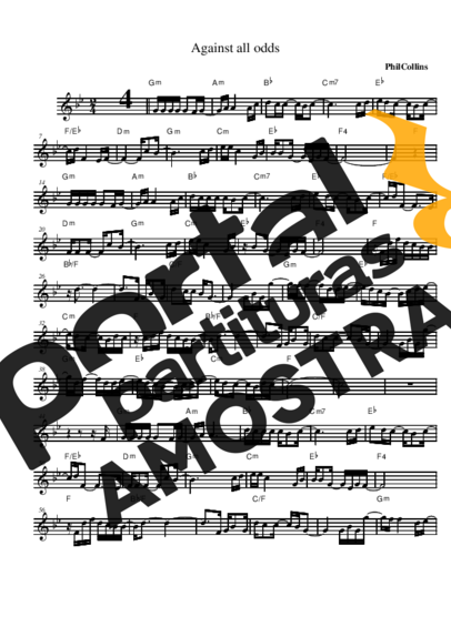 Phil Collins Against All Odds (Take a Look at Me Now) partitura para Saxofone Alto (Eb)