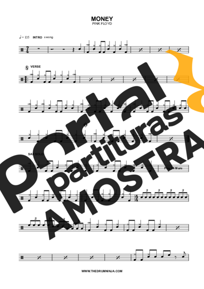 Pink Floyd Money partitura para Bateria