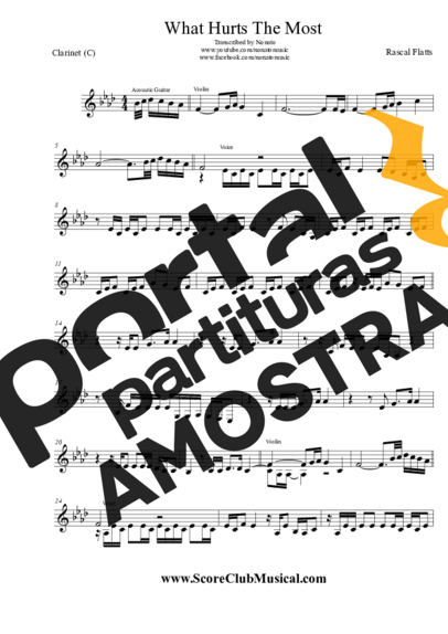Rascal Flatts What Hurts The Most partitura para Clarinete (C)
