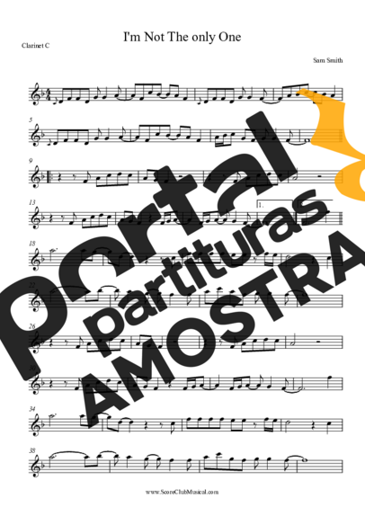 Sam Smith I´m Not The Only One partitura para Clarinete (C)