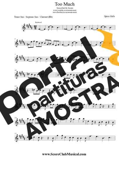Spice Girls Too Much partitura para Saxofone Tenor Soprano Clarinete (Bb)