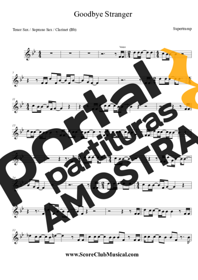 Supertramp Goodbye Stranger partitura para Saxofone Tenor Soprano Clarinete (Bb)