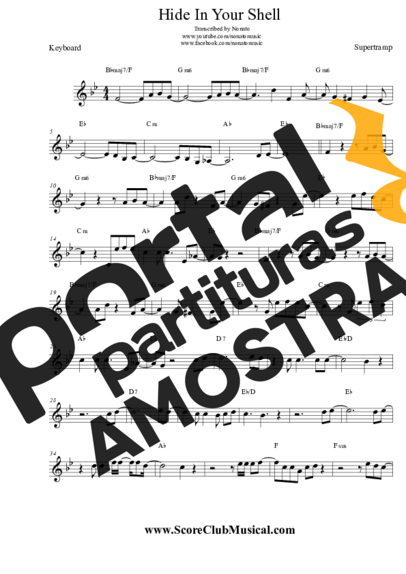 Supertramp Hide In Your Shell partitura para Teclado