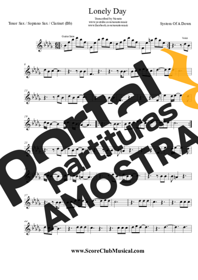 System Of A Down Lonely Day partitura para Saxofone Tenor Soprano Clarinete (Bb)