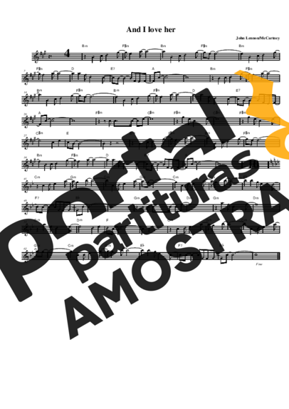 The Beatles And I Love Her partitura para Saxofone Alto (Eb)