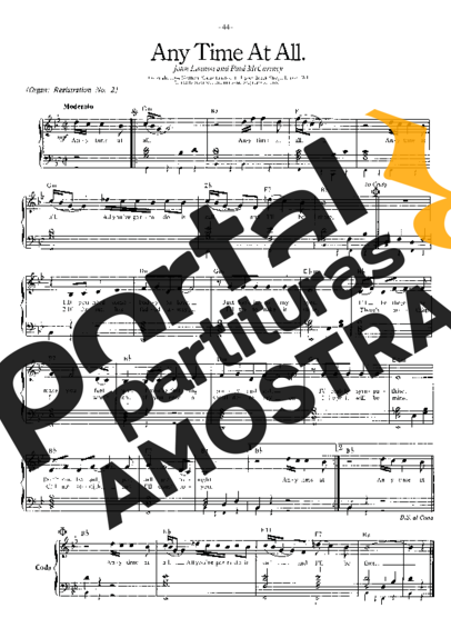 The Beatles Any Time At All partitura para Piano