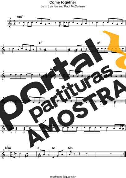 The Beatles Come Together partitura para Teclado