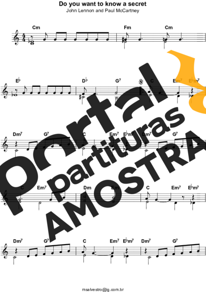 The Beatles Do You Want To Know a Secret partitura para Teclado