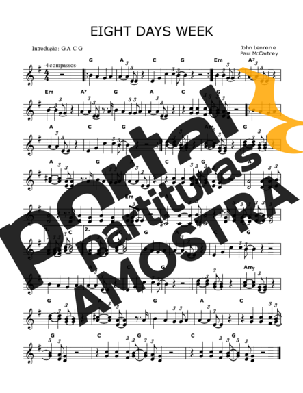 The Beatles Eight Days Week partitura para Teclado