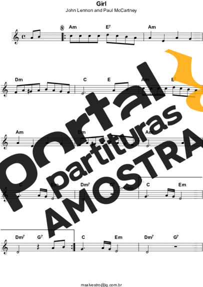 The Beatles Girl partitura para Teclado