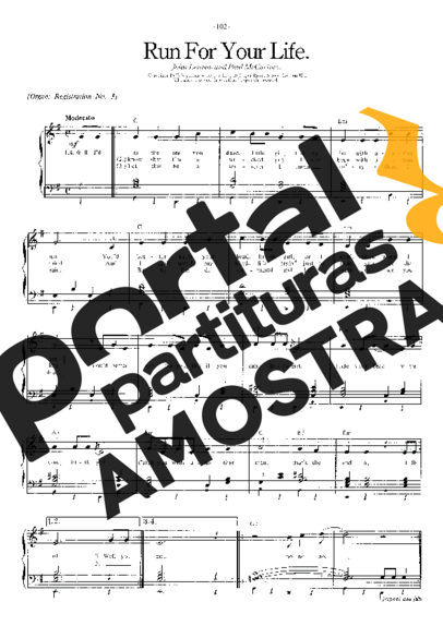 The Beatles Run For Your Life partitura para Piano