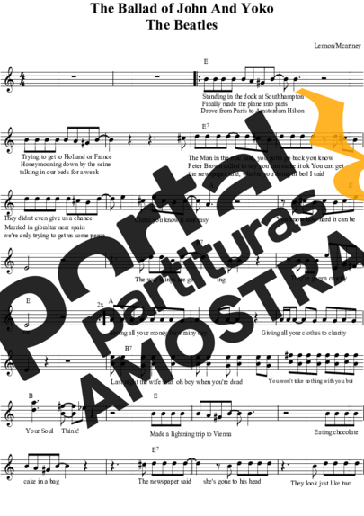 The Beatles The Ballad of John And Yoko partitura para Teclado