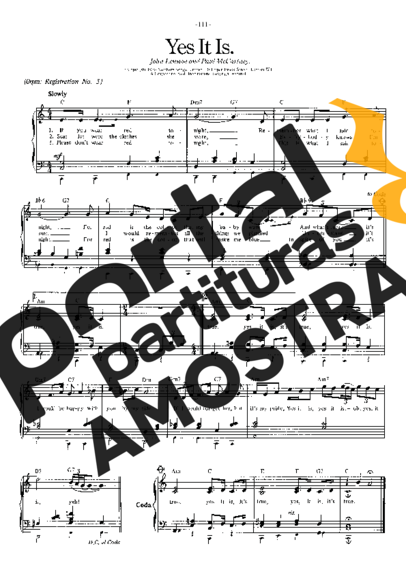The Beatles Yes It Is partitura para Piano