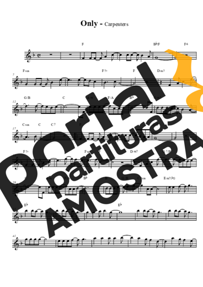 The Carpenters Only Yesterday partitura para Saxofone Tenor Soprano Clarinete (Bb)