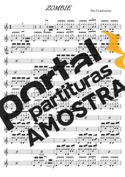 The Cranberries Zombie partitura para Bateria