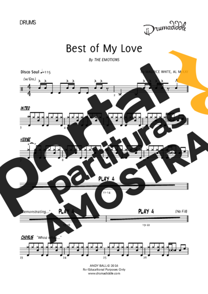 The Emotions Best Of My Love partitura para Bateria