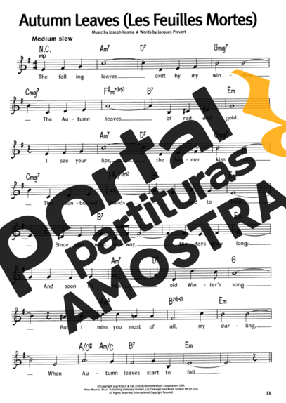The Real Book Of Blues Autumn Leaves (Les Feuilles Mortes) partitura para Teclado