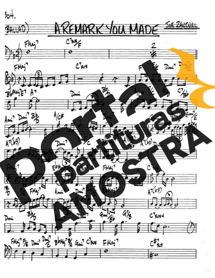 The Real Book of Jazz A Remark You Made partitura para Saxofone Tenor Soprano Clarinete (Bb)