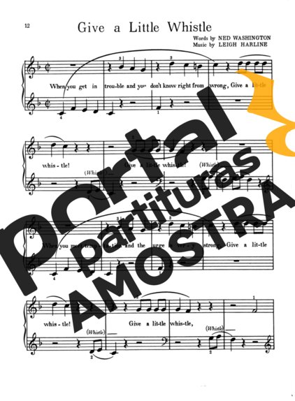 Walt Disney Give A Little Whistle partitura para Piano
