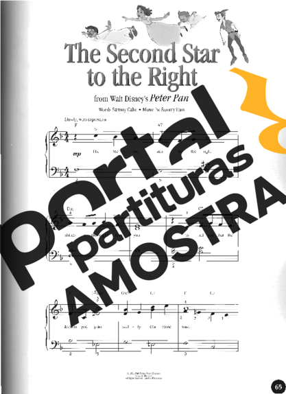 Walt Disney The Second Star To The Right partitura para Piano