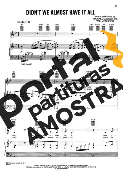 Whitney Houston Didnt We Almost Have It All partitura para Piano