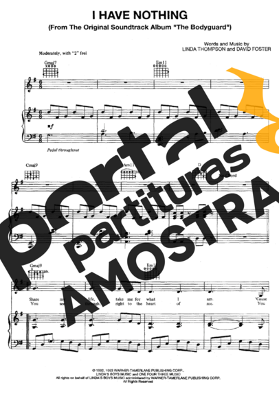Whitney Houston I Have Nothing partitura para Piano